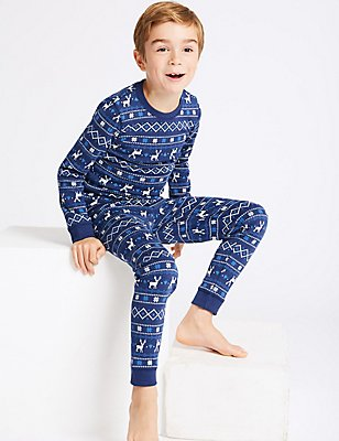 Cotton Blend Fairisle Thermal Set (18 Months - 16 Years), NAVY MIX, catlanding
