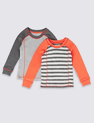 2 Pack Cotton Blend Thermal Vests (18 Months - 16 Years), ORANGE MIX, catlanding