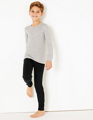 Cuffed Hem Thermal Long Pants (18 Months - 16 Years), BLACK, catlanding