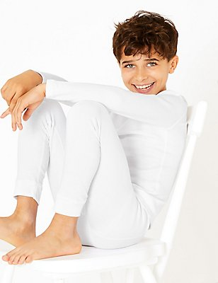 Cotton Blend Thermal Long Pants (18 Months - 16 Years), WHITE, catlanding