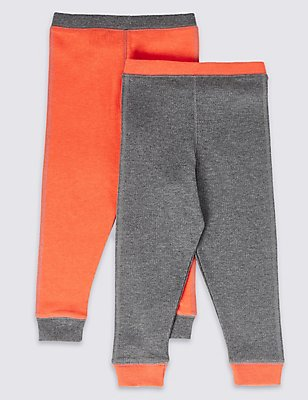 2 Pack Cuffed Hem Thermal Long Pants (18 Months - 16 Years), ORANGE MIX, catlanding