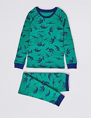 Cotton Blend All Over Print Thermal Set (18 Months - 16 Years), JADE MIX, catlanding