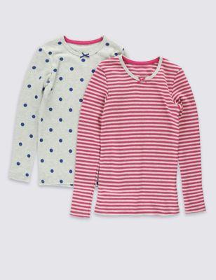 Термобельё для девочки: хлопковый топ с принтом в ассортименте (2 шт) от Marks & Spencer