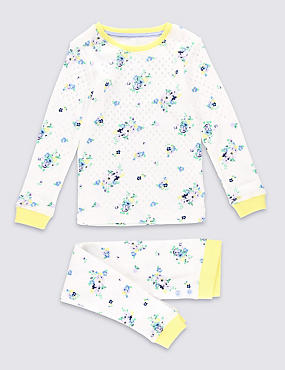 Floral Pointelle Thermal Set (3-16 Years), WHITE MIX, catlanding