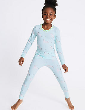 Cotton Blend Unicorn Print Thermal Set (18 Months - 16 Years), BLUE MIX, catlanding