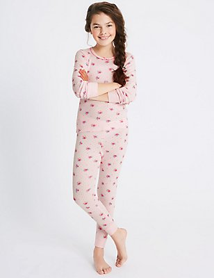Cotton Blend Floral Print Thermal Set (18 Months - 16 Years), PINK MIX, catlanding