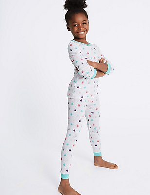 Cotton Blend Apple Print Thermal Set (18 Months - 16 Years), WHITE MIX, catlanding