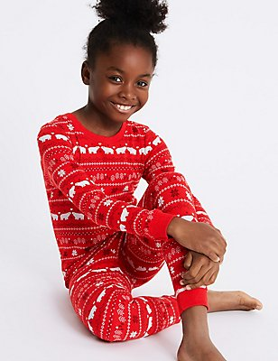 Cotton Blend Fairisle Thermal Set (18 Months -16 Years), RED MIX, catlanding