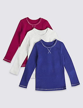 3 Pack Cotton Blend Thermal Vests (18 Months - 16 Years), MAGENTA MIX, catlanding