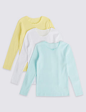 3 Pack Cotton Blend Thermal Vests (18 Months - 16 Years), YELLOW MIX, catlanding