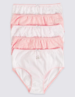 5 Pack Pure Cotton Briefs (18 Months - 12 Years), PINK/WHITE, catlanding