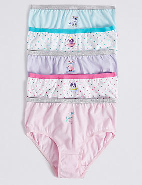 5 Pack Pure Cotton Animal Print Briefs (18 Months - 12 Years), PINK MIX, catlanding