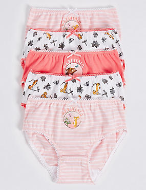 5 Pack Pure Cotton The Gruffalo™ Briefs (18 Months - 7 Years), CORAL MIX, catlanding