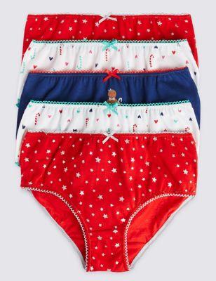 Трусики-брифы из чистого хлопка с цветными звёздочками и сердечками для девочки 1-12 лет (5 шт) T711469