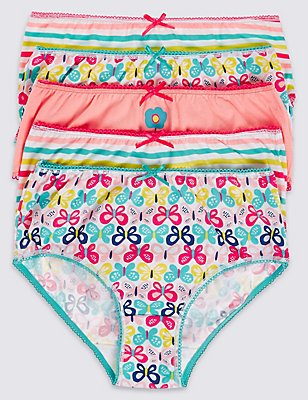 5 Pack Pure Cotton Briefs (18 Months - 12 Years), PINK MIX, catlanding