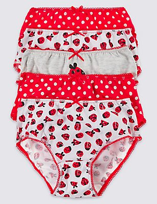 5 Pack Pure Cotton Briefs (18 Months - 12 Years), RED MIX, catlanding