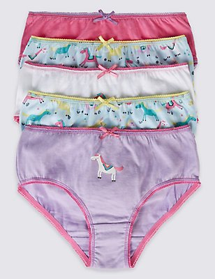 5 Pack Pure Cotton Assorted Briefs (18 Months - 12 Years), PALE BLUE MIX, catlanding
