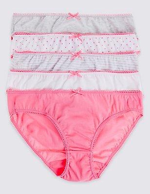 5 Pack Pure Cotton Bikini Knickers (6-16 Years), PINK MIX, catlanding