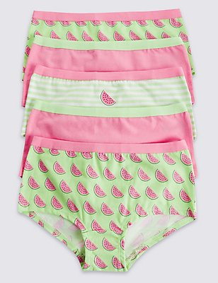 5 Pack Cotton Shorts with Stretch (6-16 Years), LIME MIX, catlanding