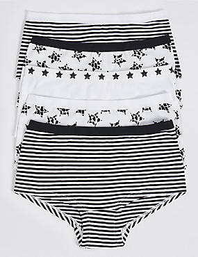 5 Pack Cotton Shorts with Stretch (6-16 Years), WHITE/BLACK, catlanding