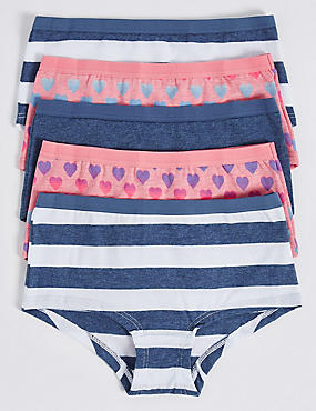 5 Pack Cotton Shorts with Stretch (6-16 Years), BLUE MIX, catlanding