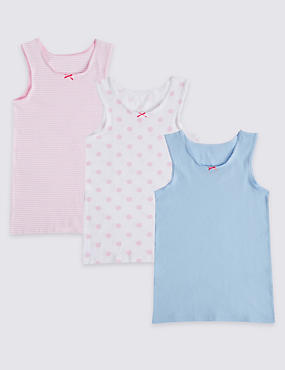 Cotton Vests with Stretch (18 Months - 10 Years), PINK/WHITE, catlanding