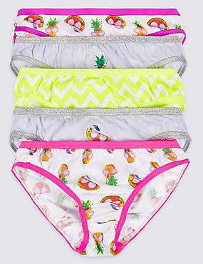 5 Pack Pure Cotton Bikini Knickers (6-16 Years), GREY MIX, catlanding