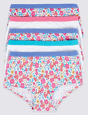 5 Pack Cotton Rich Shorts (6-16 Years), WHITE MIX, catlanding