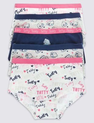 Хлопковые трусики-шортики Tatty Teddy с двухцветным дизайном и яркой отделкой для девочки 2-16 лет (5 шт) T711788
