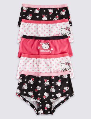 Хлопковые трусики-шортики с контрастным дизайном Hello Kitty для девочки 2-16 лет (5 шт)