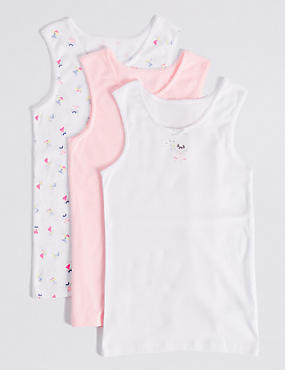 3 Pack Pure Cotton Vests (2-8 Years), PINK MIX, catlanding