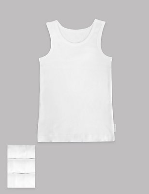 3 Pack Pure Cotton Superfine Vests (18 Months - 16 Years), WHITE, catlanding
