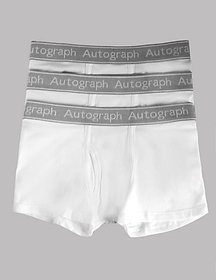 3 Pack Cotton Trunks with Stretch (4-16 Years), WHITE, catlanding