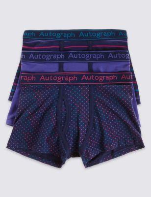 Хлопковые трусы-транки в цветной горошек и полоску для мальчика 6-16 лет (3 шт) Autograph T712457