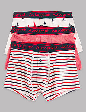3 Pack Cotton Rich Trunks (6-16 Years), WHITE/RED, catlanding
