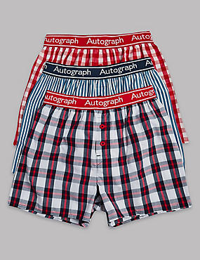 3 Pack Pure Cotton Checked Trunks (6-16 Years), RED MIX, catlanding