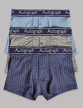 Cotton Trunks with Stretch (6-16 Years), BLUE MIX, catlanding