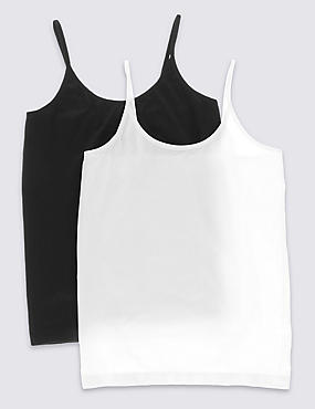 2 Pack Seamfree Camisole Vests (1-16 Years), BLACK/WHITE, catlanding