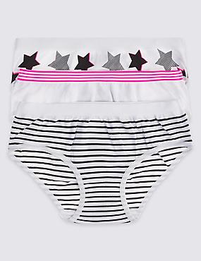 3 Pack Seamfree Bikini Knickers (6-16 Years), BLACK/WHITE, catlanding