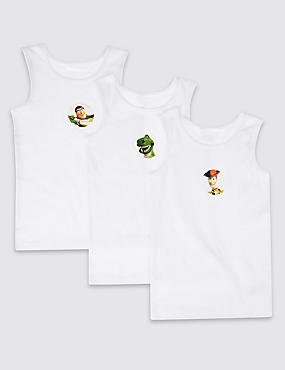 Toy Story 3 Pack Pure Cotton Vests (1-10 Years), WHITE, catlanding