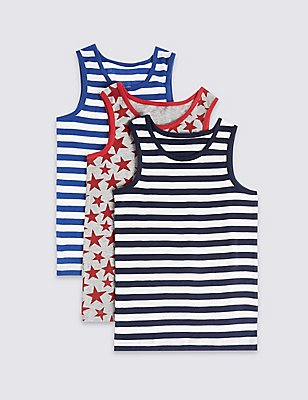 3 Pack Pure Cotton Vests (18 Months - 10 Years), NAVY/RED, catlanding