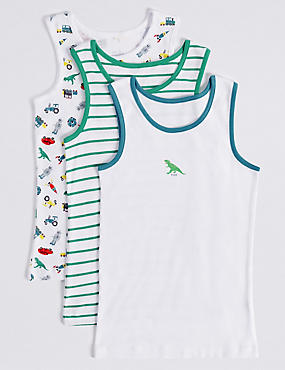 3 Pack Pure Cotton Vests (2-8 Years), WHITE/GREEN, catlanding