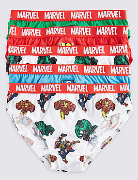 5 Pack Pure Cotton Marvel Briefs (18 Months - 8 Years), GREEN MIX, catlanding