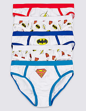 5 Pack Pure Cotton Superheroes Briefs (1-8 Years), WHITE MIX, catlanding
