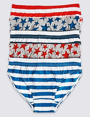 5 Pack Pure Cotton Briefs (18 Months - 8 Years), NAVY/RED, catlanding