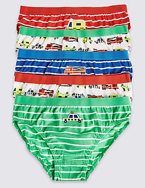 5 Pack Pure Cotton Briefs (18 Months - 8 Years), RED MIX, catlanding