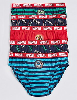 5 Pack Pure Cotton Marvel™ Briefs (18 Months - 8 Years) , NAVY/RED, catlanding
