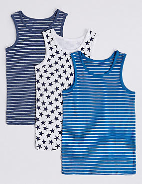 Pure Cotton Vests (2-8 Years), BLUE MIX, catlanding