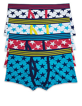 4 Pack Cotton Rich Star Print Trunks (3-16 Years)