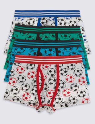 Хлопковые трусы-транки с футбольными мячами для мальчика 3-16 лет (4 шт)